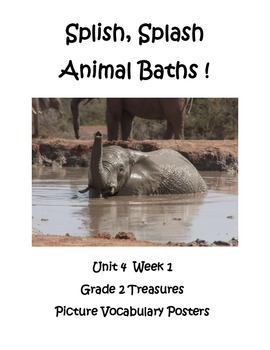 Splish Splash Animal Baths Picture Vocabulary Posters Grade 2 Treasures