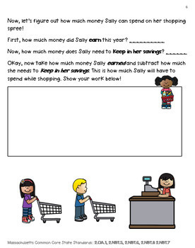 """Grade 2 Two-Digit Addition & Subtraction Enrichment Project - """"Sally Savings"""""""
