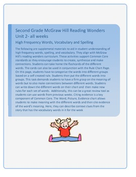 Grade 2 Unit 2. McGraw Hill Reading Wonders High Frequency Words, Vocabulary