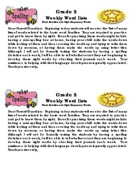Grade 2 Weekly Word Lists Template