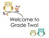 Grade 2 Welcome Door Sign (Owls)