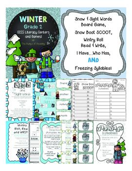 Grade 2 Winter Literacy Centers & Games