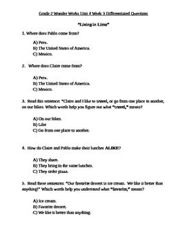 Grade 2 Wonder Works Program Unit 4 Week 3 Differentiated Questions