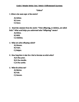 Grade 2 Wonder Works Program Unit 2 Week 4 Differentiated Questions