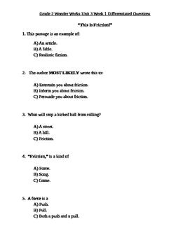Grade 2 Wonder Works Program Unit 3 Week 1 Differentiated Questions
