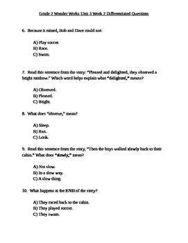 Grade 2 Wonder Works Program Unit 3 Week 2 Differentiated Questions