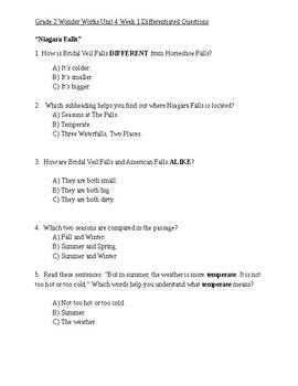 Grade 2 Wonder Works Program Unit 3 Week 4 Differentiated Questions