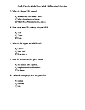 Grade 2 Wonder Works Program Unit 4 Week 1 Differentiated Questions