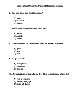 Grade 2 Wonder Works Program Unit 4 Week 2 Differentiated Questions