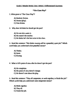 Grade 2 Wonder Works Program Unit 5 Week 2 Differentiated Questions