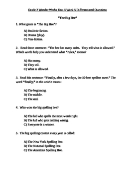 Grade 2 Wonder Works Program Unit 5 Week 5 Differentiated Questions