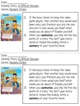 Grade 2 Wonders Reading Responses - Unit 5