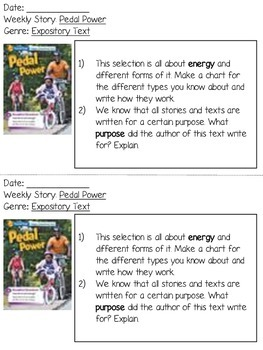 Grade 2 Wonders Reading Responses - Unit 6