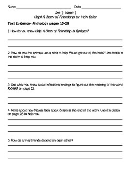 Grade 2-Wonders: Respond to Reading questions {unit 1}
