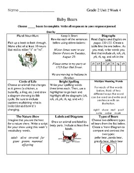 Grade 2 Wonders Unit 2 Week 4 Choice Board