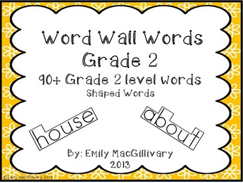 Grade 2 Word Wall: Boxed Font (90+ words)