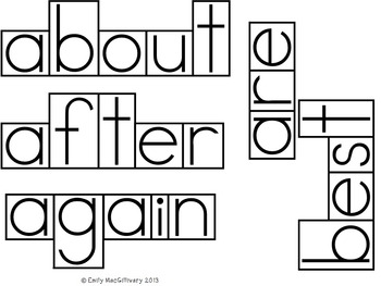 Grade 2 Word Wall: Boxed Font with Line between Letters (90+ words)