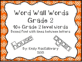 Grade 2 Word Wall: Boxed Font with Line between Letters (9