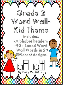 Grade 2 Word Wall: Kid Theme (Over 90 Words)