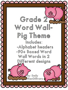 Grade 2 Word Wall: Pig Theme (Over 90 Words)