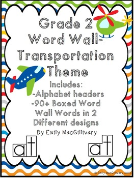 Grade 2 Word Wall: Transportation Theme (Over 90 Words)
