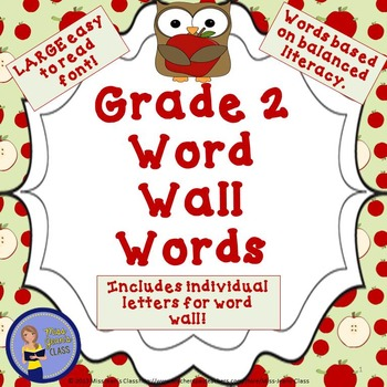 Grade 2 Word Wall Words Apples and Owl Themed