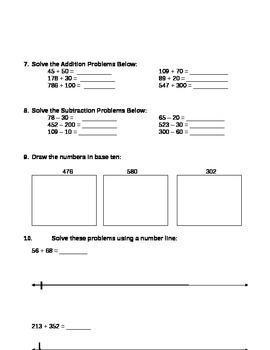 Grade 2 and 3 Common Core Place Value Assessment