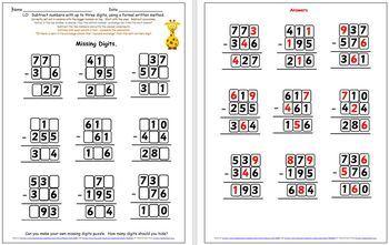 Grade 2 and Grade 3 Written Subtraction Worksheet, Challenge and Partner Games