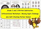 Grade 2 and Grade 3 Written Subtraction Worksheet, Challen