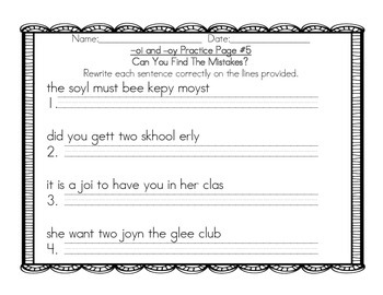 Grade 2 -oi and -oy Practice Pack