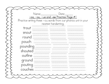 Grade 2 -oo, -ou, -ew, and -ue Phonics Practice Pack