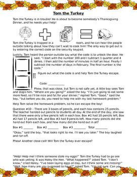 Save Tom the Turkey! (Math Activity)
