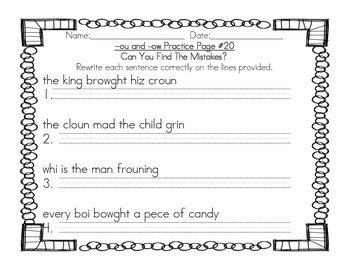 Grade 2 -ou and -ow Phonics Practice Pack