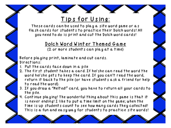 Grade 2 winter themed Dolch word game