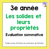 Grade 3 3D Shapes Test (French)