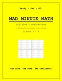 Grade 3, 4, 5, 6 Math  - MAD MINUTE MATH - Addition and Subtraction