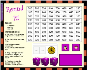 Grade 3 4 5 Mathematics Round It Up Interactive Whiteboard Game