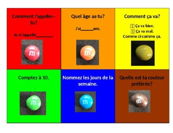 Grade 3&4 Core French Back to School M&M Conversational Activity