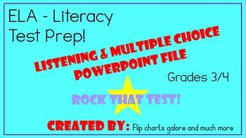 Grade 3 /4 ELA Literacy Listening Activity Test Prep PowerPoint