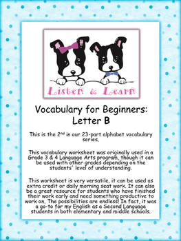 Grade 3 & 4 English - Vocabulary Worksheet - Letter B