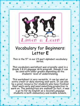Grade 3 & 4 English - Vocabulary Worksheet - Letter E