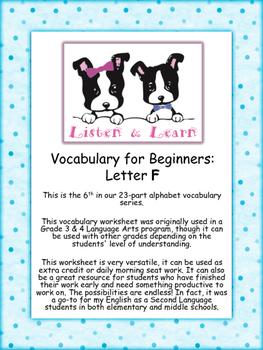 Grade 3 & 4 English - Vocabulary Worksheet - Letter F