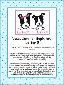 Grade 3 & 4 English - Vocabulary Worksheet - Letter G
