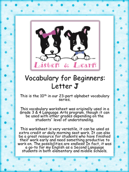 Grade 3 & 4 English - Vocabulary Worksheet - Letter J