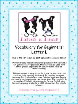 Grade 3 & 4 English - Vocabulary Worksheet - Letter L