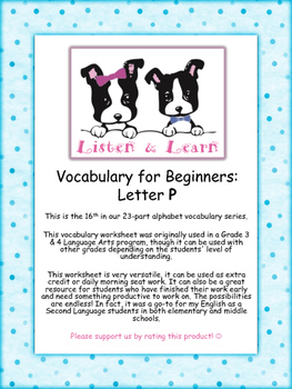 Grade 3 & 4 English - Vocabulary Worksheet - Letter P