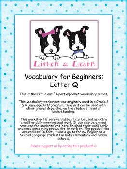 Grade 3 & 4 English - Vocabulary Worksheet - Letter Q