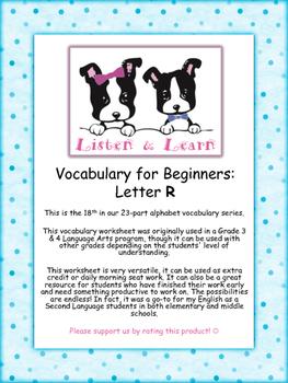 Grade 3 & 4 English - Vocabulary Worksheet - Letter R