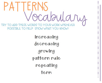 Grade 3&4 Math Vocabulary