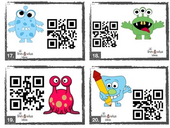Grade 3-4 Monster Fun QRCode Addition & Subtraction Task Cards